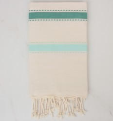 Beach Towel arabesque white cream, green and turquoise