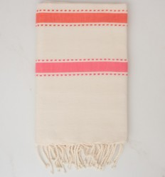 Towel arabesque white cream, orange coral and pink
