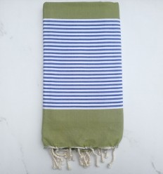 Beach Towel flat olive green striped blue and white