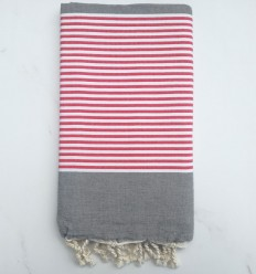 Beach Towel red and white striped gray