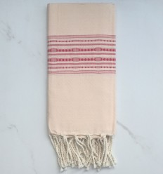 Fouta cream yellow thalasso with red patterns