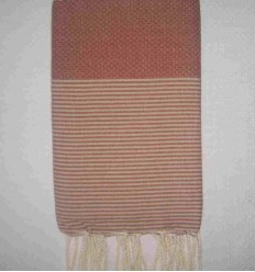Honeycomb rust striped beige fouta