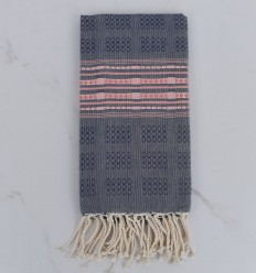 Thalasso blue with pink patterns fouta
