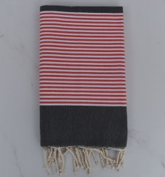 Beach Towel dark gray striped red english and white