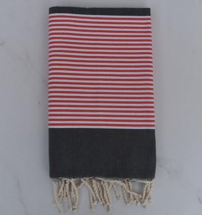 Beach Towel dark gray striped red english and white