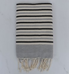 Beach Towel Honeycomb white cream, anthracite and gray striped 1 cm