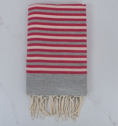 Beach Towel Honeycomb striped 1 cm gray, very light pink and pink