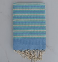 Beach Towel Honeycomb striped 1 cm blue, creamy white and turquoise