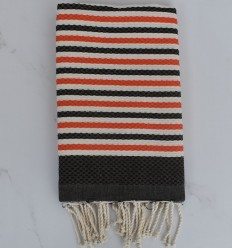 BeachTowel honeycomb striped 1 cm coral and dark taupe stripes