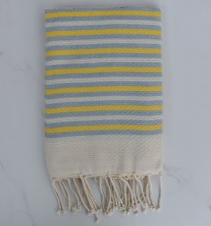 Fouta Honeycomb striped 1 cm yellow and blue stripes cart