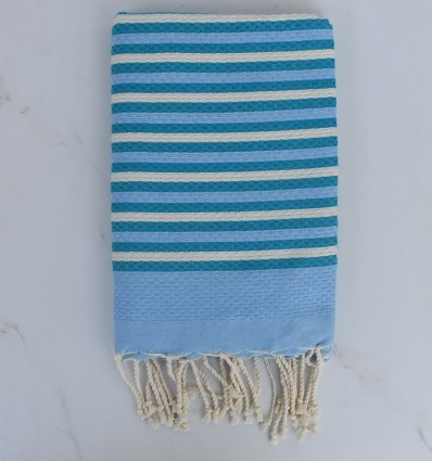 Beach Towel Honeycomb blue, creamy white and blue striped duck 1 cm