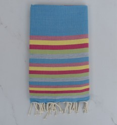 Beach Towel Flat blue, pink, yellow and green