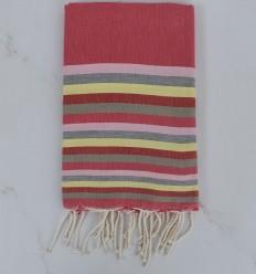 Fouta plate 6 couleurs rose, rose clair, gris, jaune, rouge et vert pale