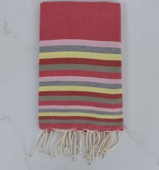 pink, light pink, gray, yellow, red and pale green beach towel