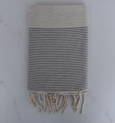 Bath Towel light beige striped gray