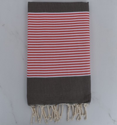 Beach towel dark taupe striped red english and blue