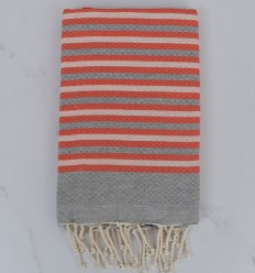 Beach Towel Honeycomb gray and striped coral 1 cm