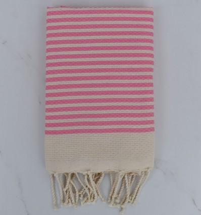 Honeycomb striped 1cm light pink stripes beach towel