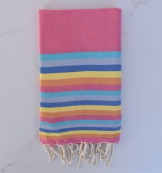 Beach Towel flat 6 colors pink, azure, blue gray, blue, yellow and orange
