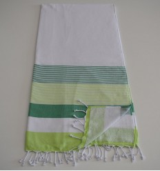 Beach Towel white, green and green anis sponge