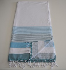 Fouta white sponge, light azure blue and duck
