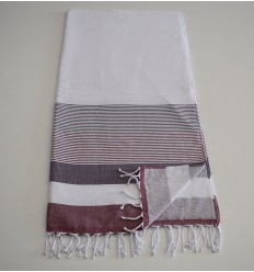 Beach Towel white sponge, mauve and amaranth