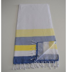 Beach Towel white, yellow and blue sponge