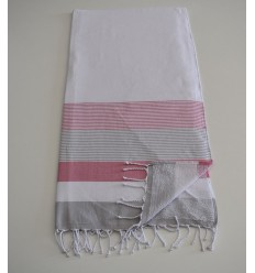 Beach Towel white, pink and gray sponge