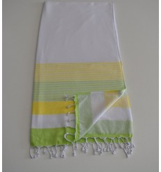 Beach Towel white sponge, chartreuse and light green