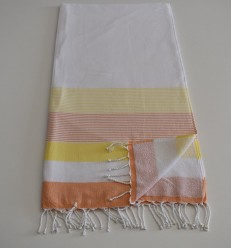 Beach Towel white, yellow and orange sponge