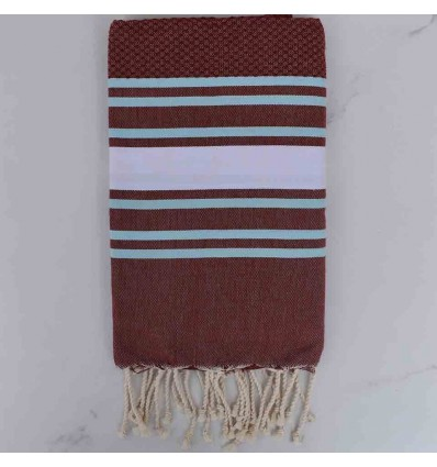 Beach Towel Honeycomb Burgundy red striped white and light blue