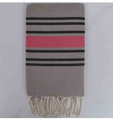 Beach Towel taupe black and pink striped
