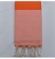 Honeycomb orange striped white fouta