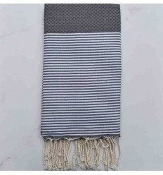 Honeycomb lead grey striped white fouta