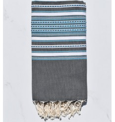 Beach Towel gray arabesque with light blue stripes