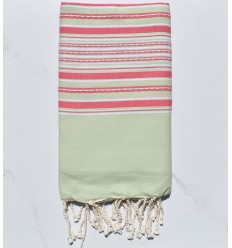 Fouta pistachio green arabesque with stripes