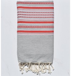 Fouta arabesque light gray with red stripes