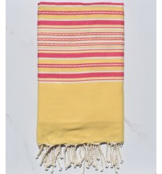 Beach Towel yellow arabesque with pink stripes