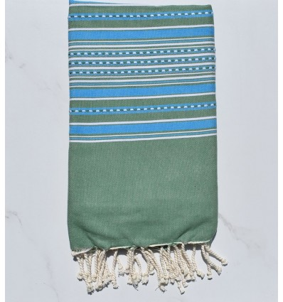 Towel green arabesque with blue stripes