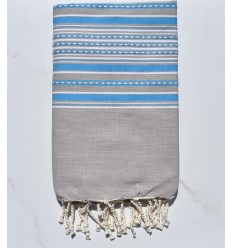 Towel light taupe arabesque with blue stripes