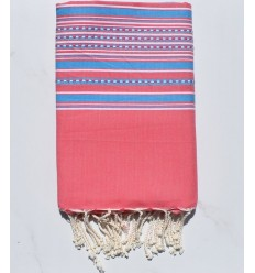 Beach Towel pink arabesque with blue stripes