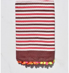 Beach Towel off-white, red and burgundy with pompoms