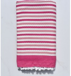Beach Towel off-white and pink with pompoms