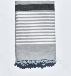 Beach Towel White broken gray and anthracite with pompoms