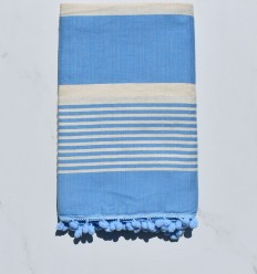 Beach Towel pompons white cream and blue