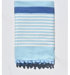 Beach Towel dirty white, blue and azurin with pompons