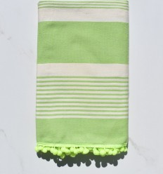Beach Towel Cream and green fouta with pompons