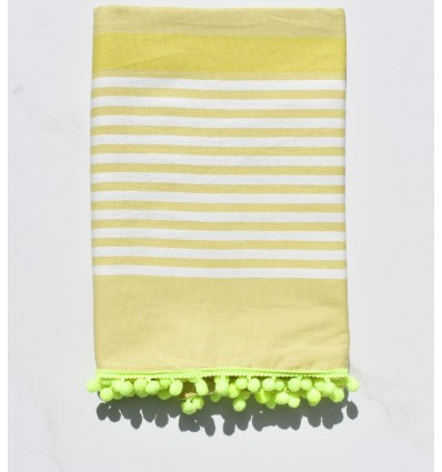 Beach Towel dirty white, chartreuse with pompons