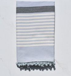 Beach Towel white cream, gray and blue cart with pompons
