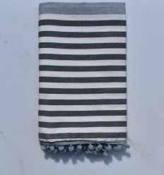 Towel dirty white, gray and dark gray with pompoms